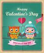 Vintage Valentine poster design with owls