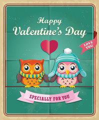 Vintage Valentine poster design with owls