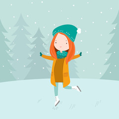 Vector illustration of sweet girl ice skating on frozen lake