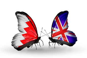 Two butterflies with flags Bahrain and UK