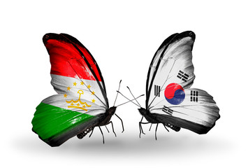 Two butterflies with flags Tajikistan and South Korea