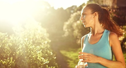 Beautiful Young Active Female Running Nature Sunset Drinking