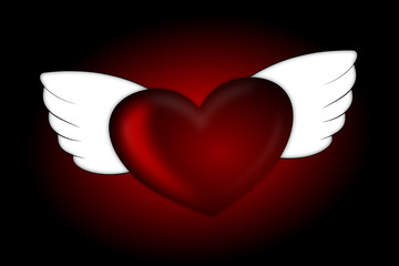 Shiny red heart with wings