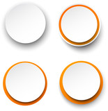 Fototapety Paper white-orange round speech bubbles.