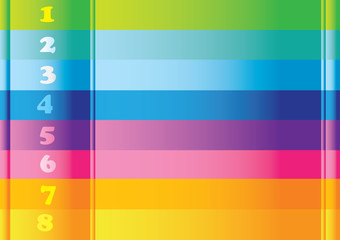 Horizontal Colorful numbered stripes layout design