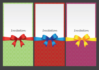 Three invitation inset cards with ribbon decoration
