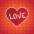 Love - heart sharped paper tag.