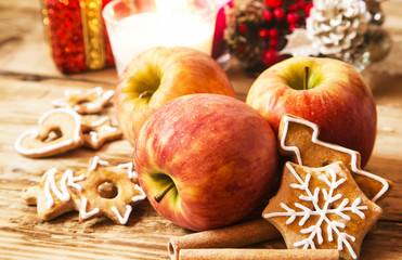 Apple, Gingerbread and Spices with Christmas Decoration