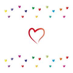 Rotes Herz mit kleinen bunten Herzen