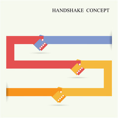 Handshake abstract sign vector design template. Business creativ