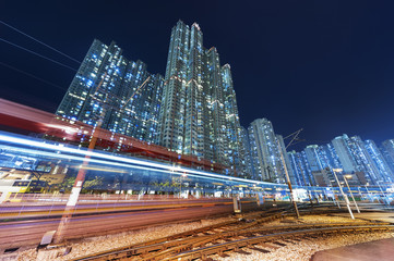train station with urban background in Hong Kong