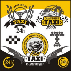 Taxi symbols, and elements for taxi emblem - vector set.