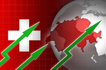 swiss economy currency growth illustration with green up arrow