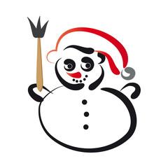 Kleiner Schneemann mit roter Mütze