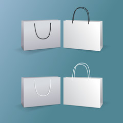 white paper bags set isolated on blue background