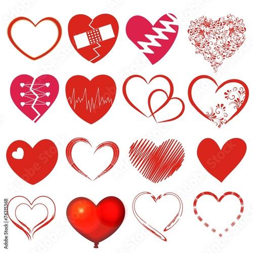 Set mit 16 Herzen