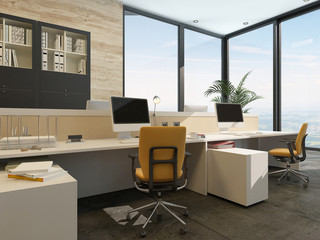 Spacious work environment in a modern office