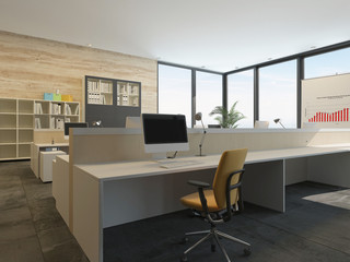 Modern office interior with multiple work stations