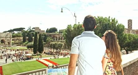 Tourist Couple Tourism Coliseum Man Woman Travel Vacation