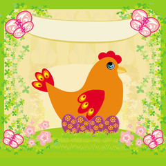 background with easter eggs and one hen