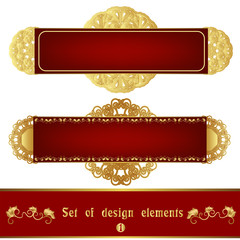 Set of red label with gold filigree ornament