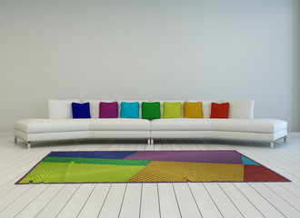 Modern white couch with colorful cushions