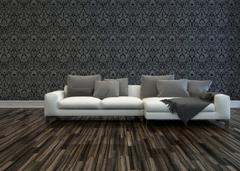 White Sofa in Room with Grey Patterned Wallpaper