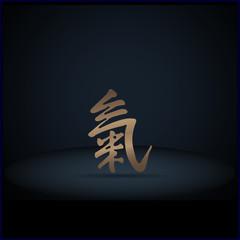 Hieroglyph vitality, on a dark blue background, shadow.EPS 10.