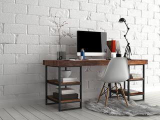 Worktable with Various Stuff Beside White Wall