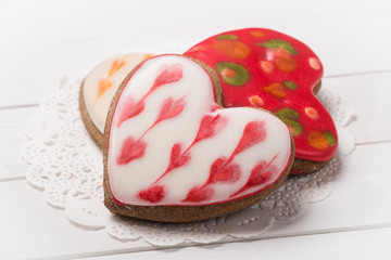 Cookies in the form of heart on a paper napkin