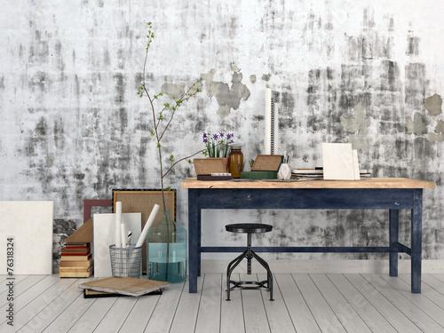 Interior of an artist or designer studio - 76318324