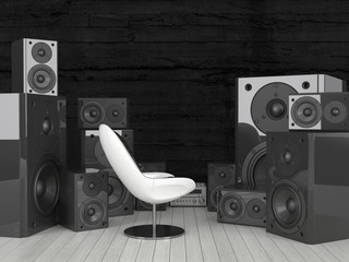 Modern white chair surrounded by huge soundspeakers