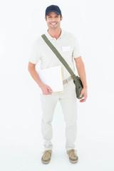 Happy courier man holding envelops
