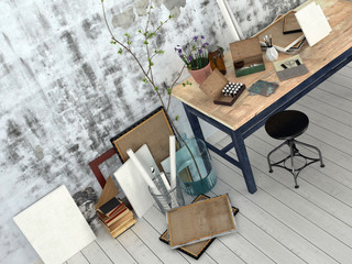 Interior of an artist or designer studio