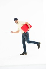 Delivery man with red box running on white background