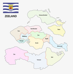 province zeeland administrative map with flag