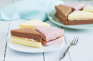 pieces of chiffon cake on plate for snack