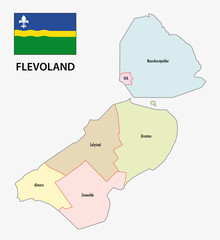 province flevoland administrative map with flag