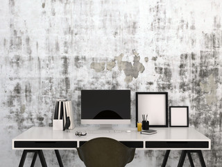 Stylish black and white home work space