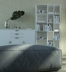 Gray Ottoman in front White Cabinet