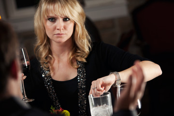 Restaurant: Woman Concerned They Will Be Late For Movie