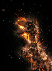 Flaming prehistoric dinosaur