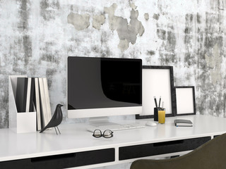 Workstation with a desktop computer