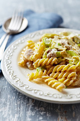 Fusilli with mushrooms, leek and mascarpone sauce