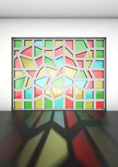 kozijn met glas in lood, interieur impressie