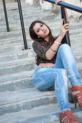 Young female in casual wear outside
