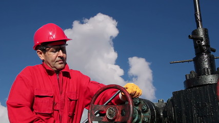Oil Rig Worker at Work