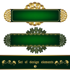Set green label with gold filigree ornament