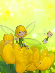 Fairy with yellow flowers