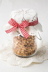 fried oatmeal with seeds in big jar